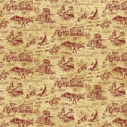 Northcott's Pony Express Fabric Western Towns Red on Beige