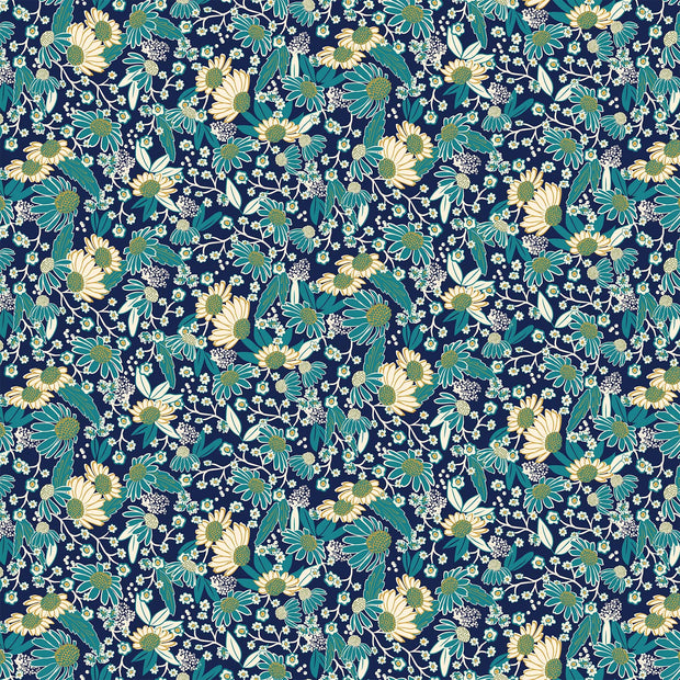 Northcott Willowberry Quilt Fabric by Angela Kilpatrick Coneflowers Navy