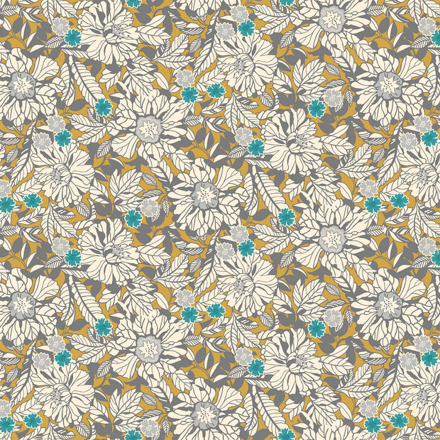 Northcott Willowberry Quilt Fabric by Angela Kilpatrick Floral Allover Gold