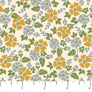 Willowberry Floral Toss Gold and Grey on Cream