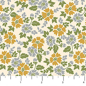 Willowberry Gold & Blue Flowers Fabric