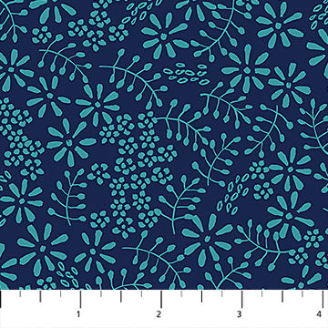 Willowberry Ferns on Navy Fabric