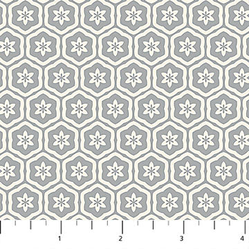 Willowberry Hexagons on Grey Fabric