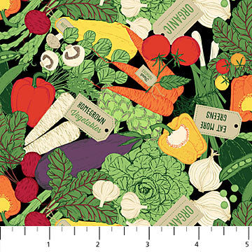 Northcott Quilting Cotton Fabric Material Farm To Table Peppers Carrots Turnips Cabbage Mushrooms Tomatoes Radishes Onions Garlic Green Red Orange White Black Yellow