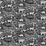 Northcott Quilting Cotton Fabric Material Farm To Table Pigs Cows Lambs Butcher White Black