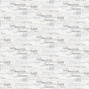 Northcott Quilting Cotton Fabric Material Farm To Table Fresh Produce Words Moo Oink Cream Butter Grey Gray White Black