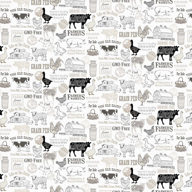 Northcott Quilting Cotton Fabric Material Farm To Table Fresh Produce Words Pigs Cows Duck Geese Life on the Farm Grey Gray White Black