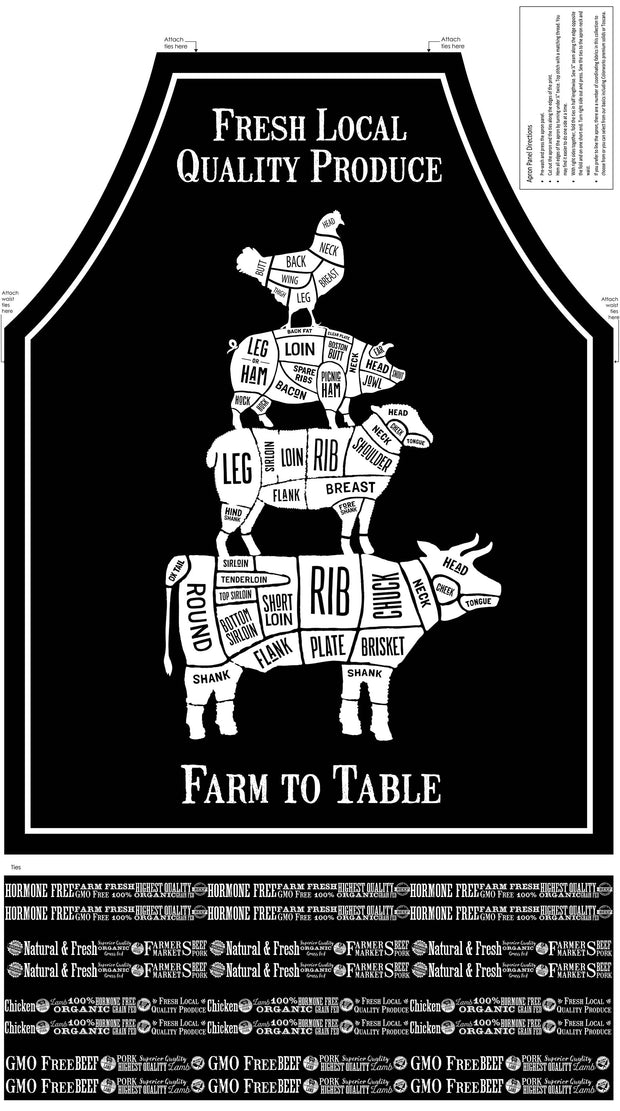 Northcott Quilting Cotton Fabric Material Farm To Table Fresh Produce Words Pigs Cows Sheep Hen White Black Butchers Apron