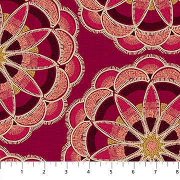 Great Plains Quilt Fabric by Nina Djuric for Northcott Red Maroon Navajo Inspired