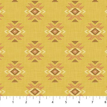 Great Plains Quilt Fabric by Nina Djuric for Northcott Yellow Navajo Inspired