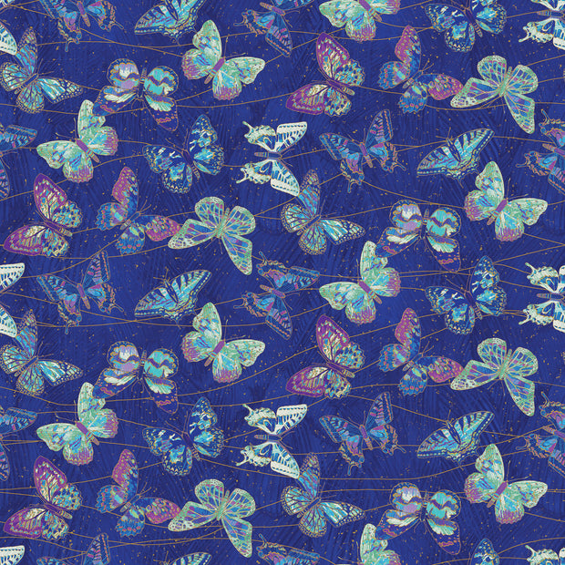 Shimmer Fantasia Nocturnal Bliss Deborah Edwards Northcott Studio Quilt Fabric Material Butterflies Metallic Purple Aqua Turquoise