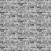 Construction Zone Quilt Fabric by Kim Peers-Moore for Norcott Dump Trucks Crane Cement Truck Tractor Black Grey Gray White Words