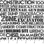 Construction Zone Words White