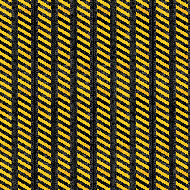 Construction Zone Quilt Fabric by Kim Peers-Moore for Norcott Road Markings Yellow Black