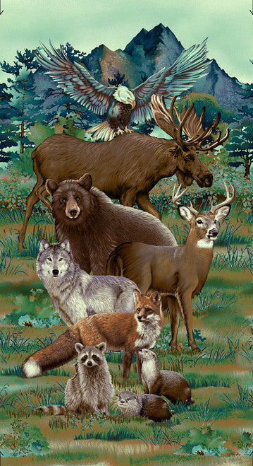 Woodland Wonders Studio E Elizabeth Isles Wolf Raccoon Otter Moose Fox Eagles Deer Bear Green Brown