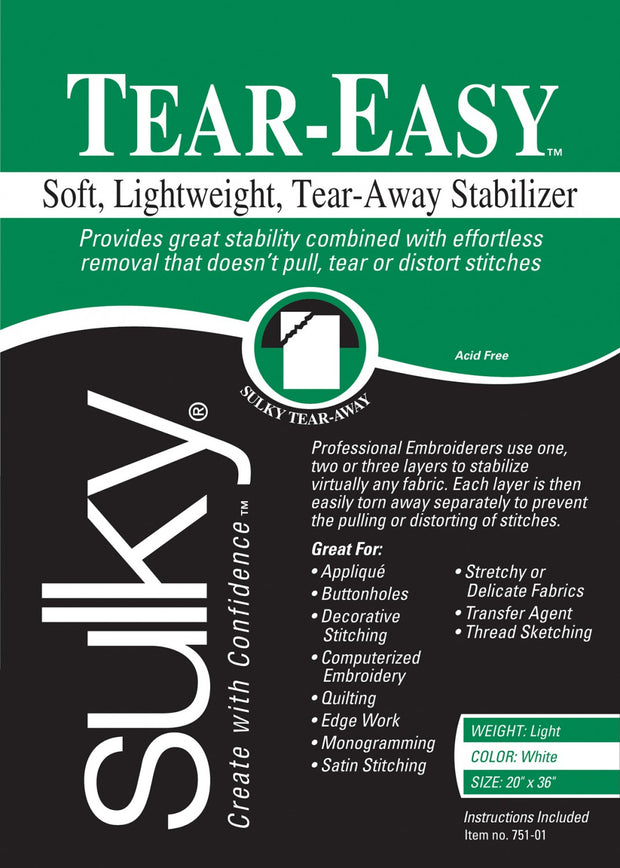 Tear Easy Lightweight Stabilizer White