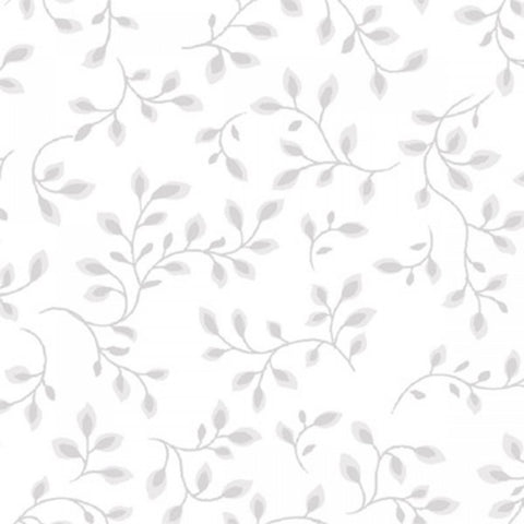 108 Inch Wide Backing White & Grey Vine Fabric