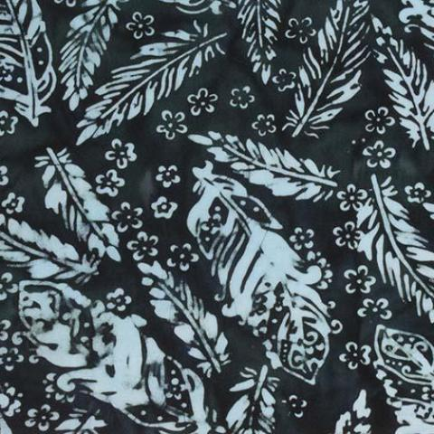 Banyan Batiks Feathers Quilt Fabric Teal Feathers