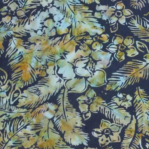 Banyan Batiks Feathers Mandarin Teal Quilt Fabric Flowers and Feathers Toss