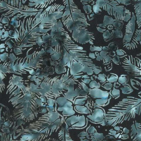 Banyan Batiks Feathers Mandarin Teal Quilt Fabric Feathers and Flowers Toss