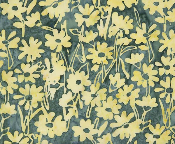 Banyan Batiks Daisy Chain Yellow Navy Quilting Sewing Cotton Fabric