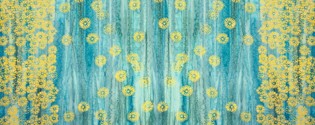 Banyan Batiks Daisy Chain Gold Turquoise Boarder Print Quilting Sewing Cotton Fabric