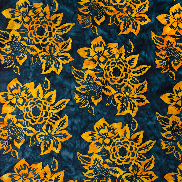 Banyan Batiks Baralla Midnight Gold Quilt Fabric Floral Navy Gold Yellow