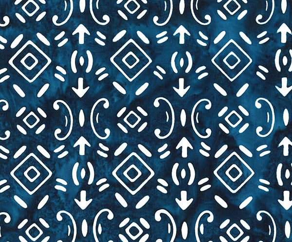 Banyan Batiks Baralla Midnight Gold Quilt Fabric Symbols Navy White