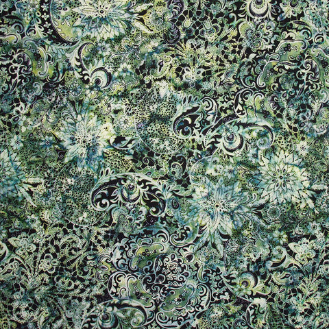 Banyan Batiks Lustre Metallic Swirls Green Black Cotton Quilt Fabric