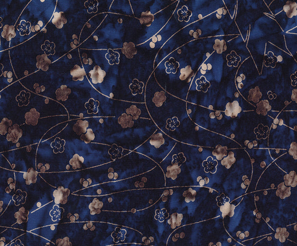 Banyan Batiks Love To Wear Rayon Batik Apparel Fabric Navy Taupe Flowers