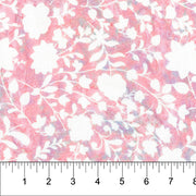 Banyan Batiks Love To Wear Rayon Batik Apparel Fabric White Pink Flowers
