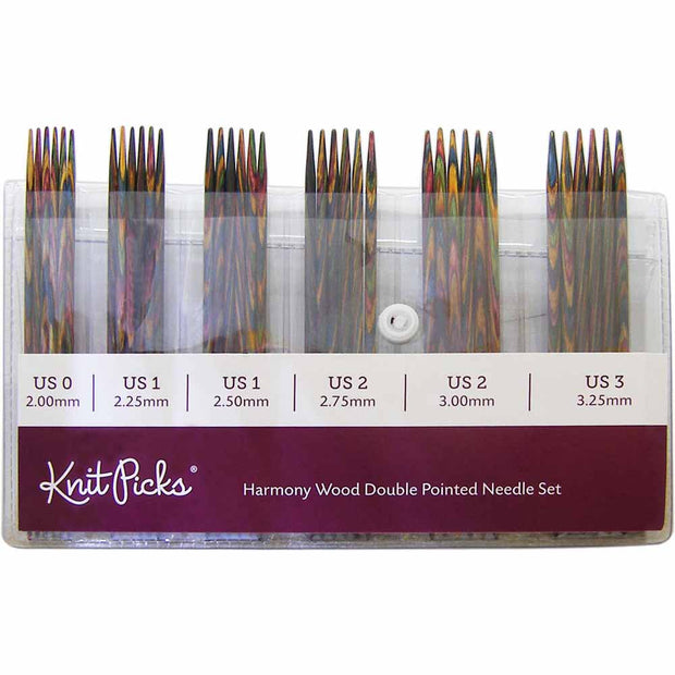 6in Rainbow Wood Double Point Knitting Needle Set