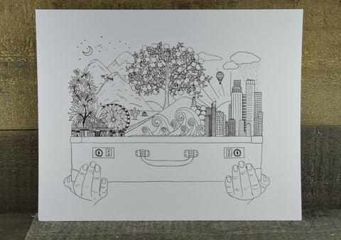 Suitcase Illustrated Art Print by Boots Paper