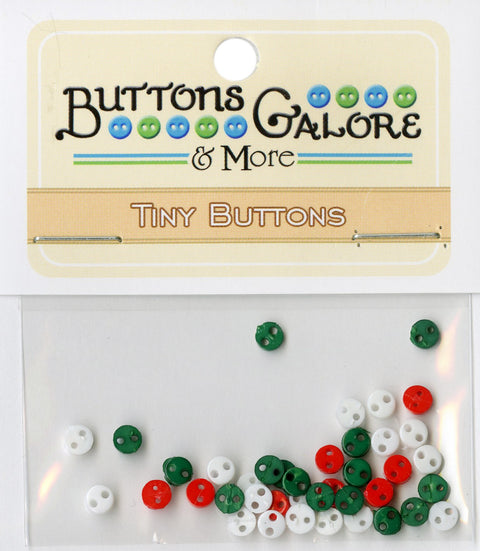 Buttons Galore 4mm Micro Buttons Christmas Red Green White Mix