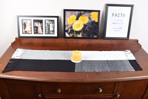 Black & White Table Runner Hand Woven