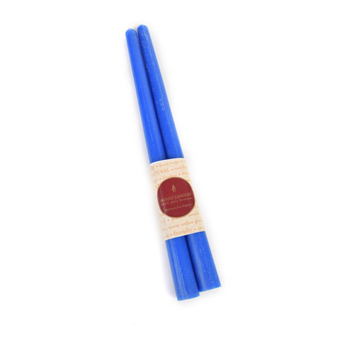 pair of beeswax blue 12 inch taper candle