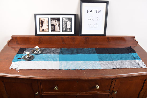 Hand Woven Table Runner Black, Blue & White