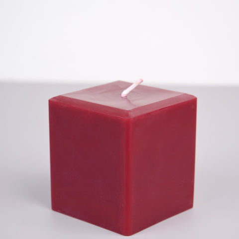100% Pure beeswax, burgundy 3 inch square pillar candle