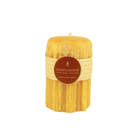 Natural 100% Beeswax 5 Inch Heritage Drip Pillar Candle