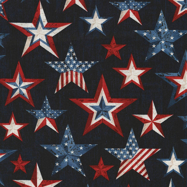 Timeless Treasures American Pride Ink Stars Quilt Fabric
