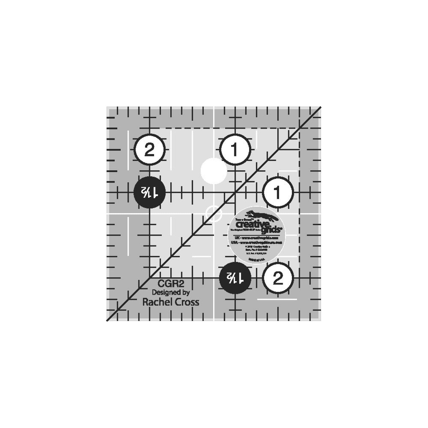 Creative Grids 2 and a half inch non-slip quilting square ruler