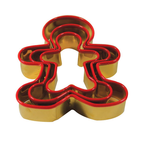 set antique gold Gingerbread man cookie cutters with silicone edge