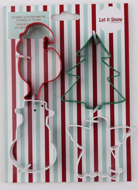 Holiday Christmas Cookie Cutters Metal Tree Angel Snowman Santa
