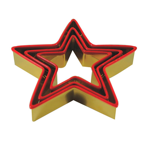 Cookie Cutter Star Antique Gold Red