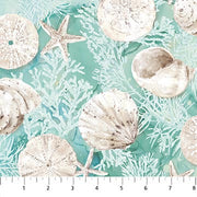 White Sands Northcott Melanie Samra Sea Coastal Beach Quilt Fabric Aqua Coral Shells
