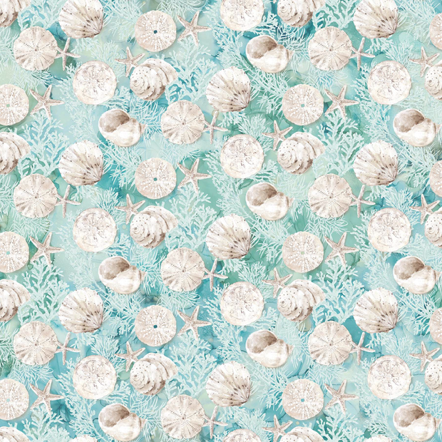 White Sands Northcott Melanie Samra Sea Coastal Beach High Tide Quilt Fabric Aqua Coral Shells