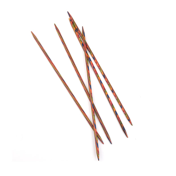 8in Rainbow Wood Double Point Knitting Needles
