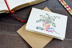 Boots Paper Hand Illustrated Brontosaurus Recycled Cardstock Greeting Card and Envelope