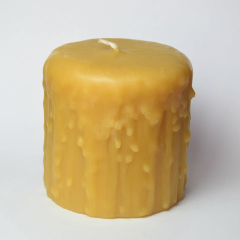 3 inch Drip Pillar Beeswax Candle