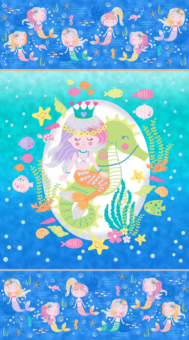 Northcott's Mermaid Wishes Glittery Quilt Fabric Panel
